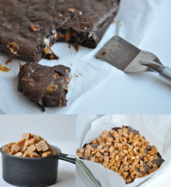 Brownie de chocolate y caramelos de toffee