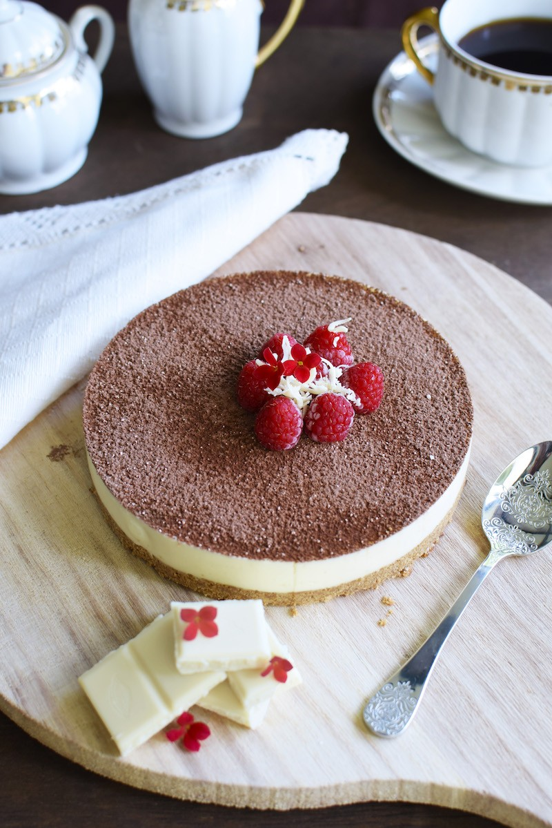 Deliciosa cheesecake de chocolate blanco