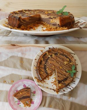 Cheesecake de chocolate y dulce de leche