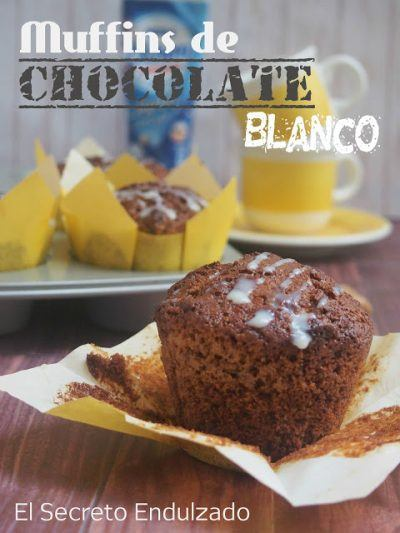 Ricos muffins de chocolate blanco