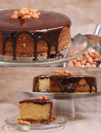Cheesecake con cacahuetes y chocolate